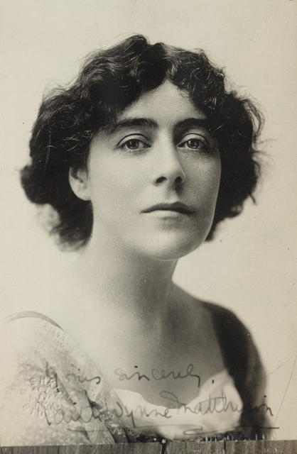 """Miss Edythe [Edith] Wynne Matthison of Connecticut is one of the prominent members of the Advisory Council of the Congressional Union for Woman Suffrage.  Miss Matthison is well known to all Americans for her brilliant work on the stage, particularly for her acting in """"Every Woman.""""  Few realize however, the strong interest which she feels in the suffrage movement and the active support which she is enabled to give the Congressional Union."""