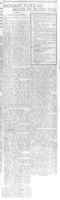 Moisant Flies 20 Miles In Blind Fog; Wins $850 Prize [The World, 23 October 1910]