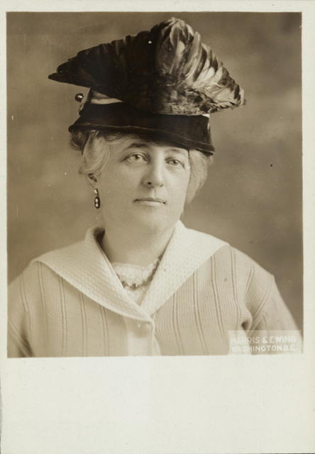 Mrs. Minnie E. Brooke, of Chevy Chase, Md., an experienced suffrage speaker and organizer, who is to have charge of the street meetings for the Woman's Party in Chicago.  Mrs. Brooke plans to hold the street meetings continuously in all parts of the city day and night from now until election day.