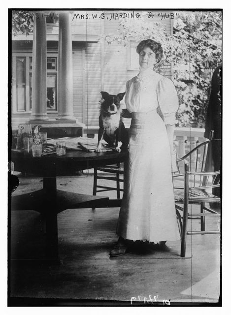 """Mrs. W.G. Harding with dog """"Hub"""" who is sitting on table"""