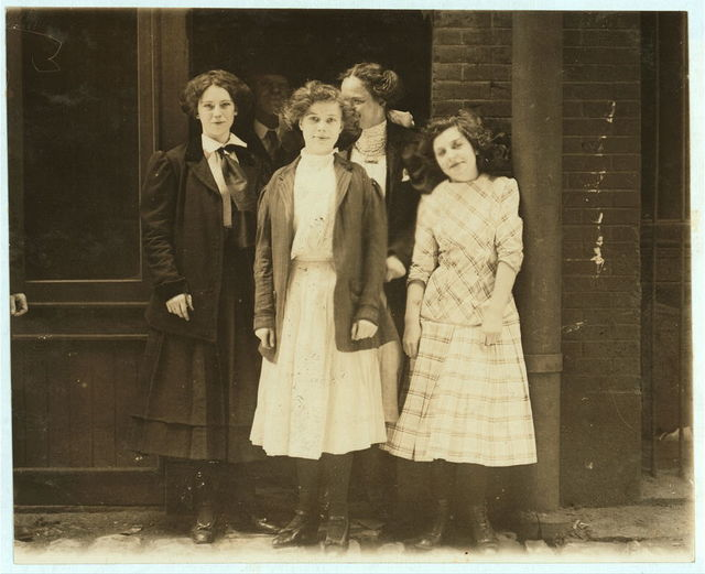 Noon hour May 12th, 1910. These girls work 9 to 10 hours a day in Inland Type Foundry.  Location: St. Louis, Missouri.