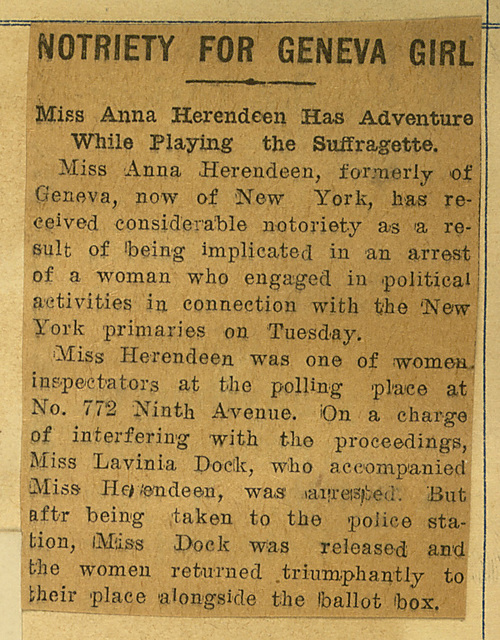 Notoriety for Geneva Girl: Anne Herendeen, poll inspector at NYC primary