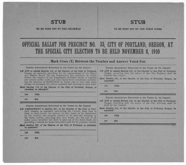 Official ballot for Precinct No. 33, City of Portland, Oregon, at the special city election to be held November 8, 1910.