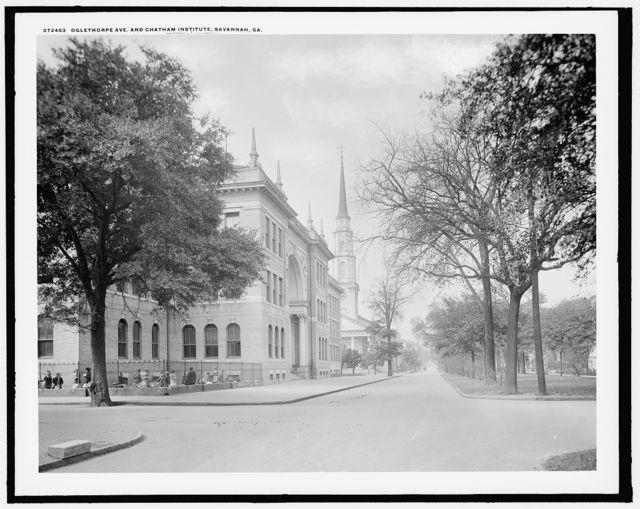 Oglethorpe Ave. [Avenue] and Chatham Institute [i.e. Academy], Savannah, Ga.