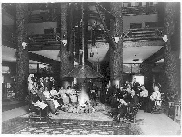 Open campfire in massive forest lobby, Glacier Park Hotel