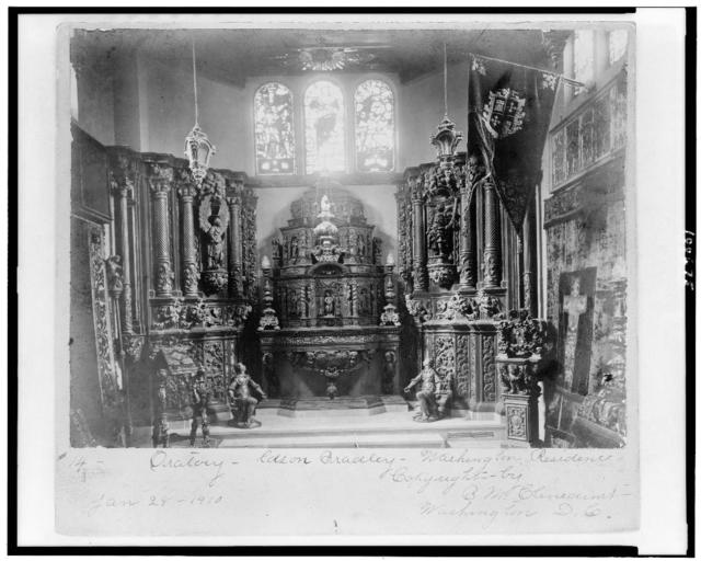 [Oratory with religious articles and sculpture in Edson Bradley residence, Washington, D.C.]
