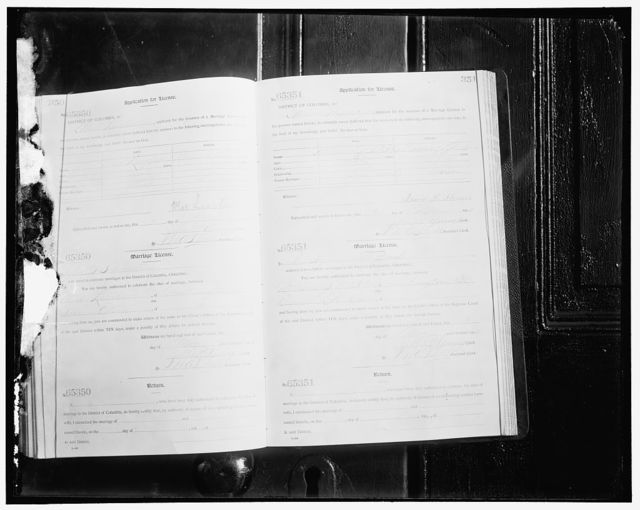 [Pages from the D.C. marriage license records]