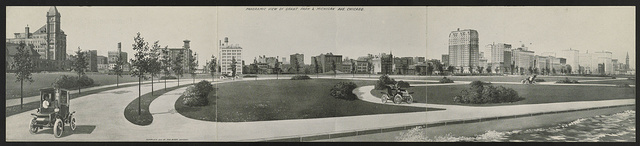 Panoramic view of Grant Park & Michigan Ave., Chicago
