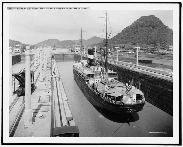 Pedro Miguel Locks, east chamber, looking north, Panama Canal