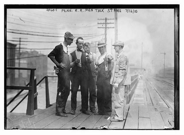 Penn. R.R. [i.e., Railroad] men talk strike