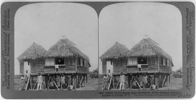 Picturesque nipa shaks on stilts - typical country homes of Panay, P.I.