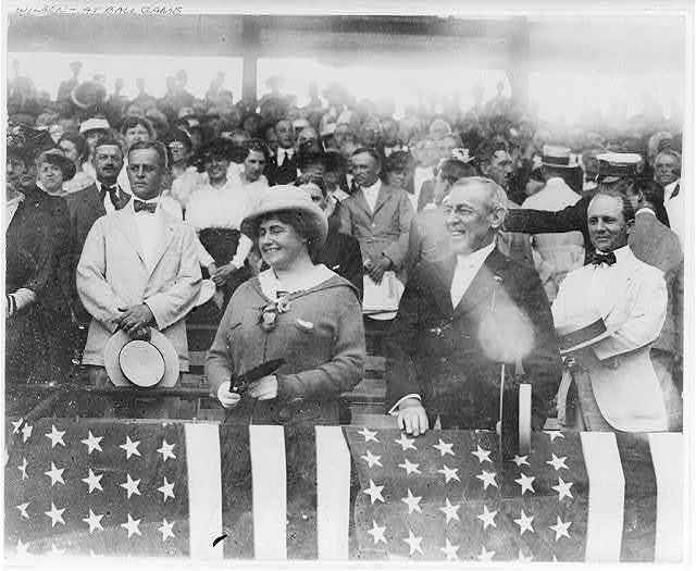 [Pres. Woodrow Wilson and wife, Edith Bolling Galt, at ball game]