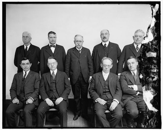 Railroad Labor Board Seated, l to r: A.C. Wharton; G.W.W. Hagner; J. James Forrestor and Harry T. Hunt. Standing, Horace Baker; Albert Phillips; R.M. Barton, Chairman; William L. Park and J.H. Elliott