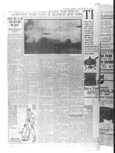 Ralph Johnstone Killed by 800 Foot Plunge [Rocky Mountain News, 18 November 1910]