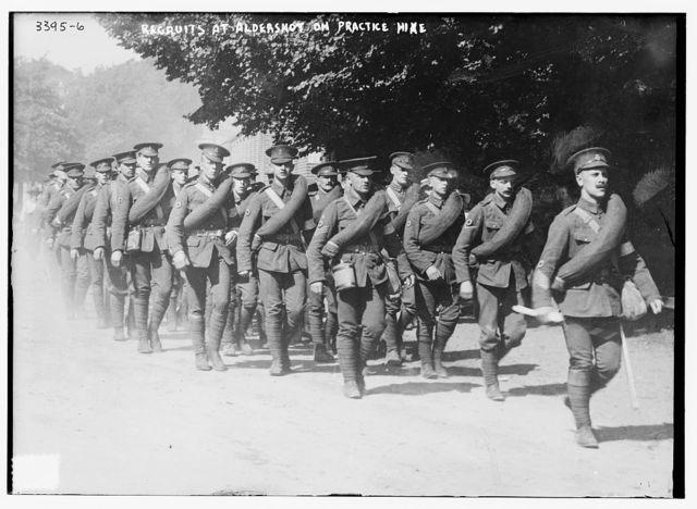 Recruits at Aldershot on practice hike