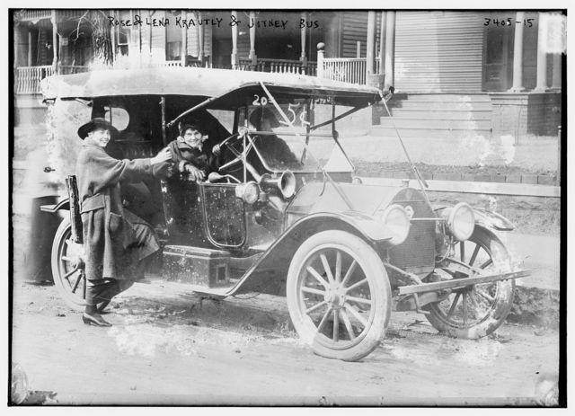 Rose & Lena Krautly and Jitney bus