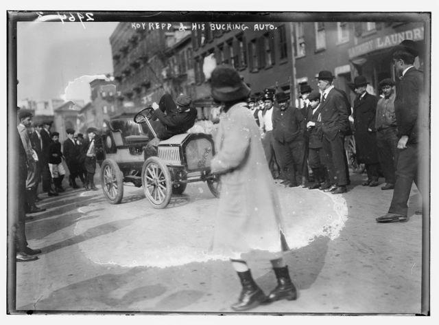 Roy Repp & bucking auto - PICRYL Public Domain Image