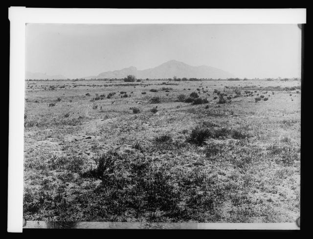 Salt River Project Arizona; desert before cultivation; Camel Back Mountain in background