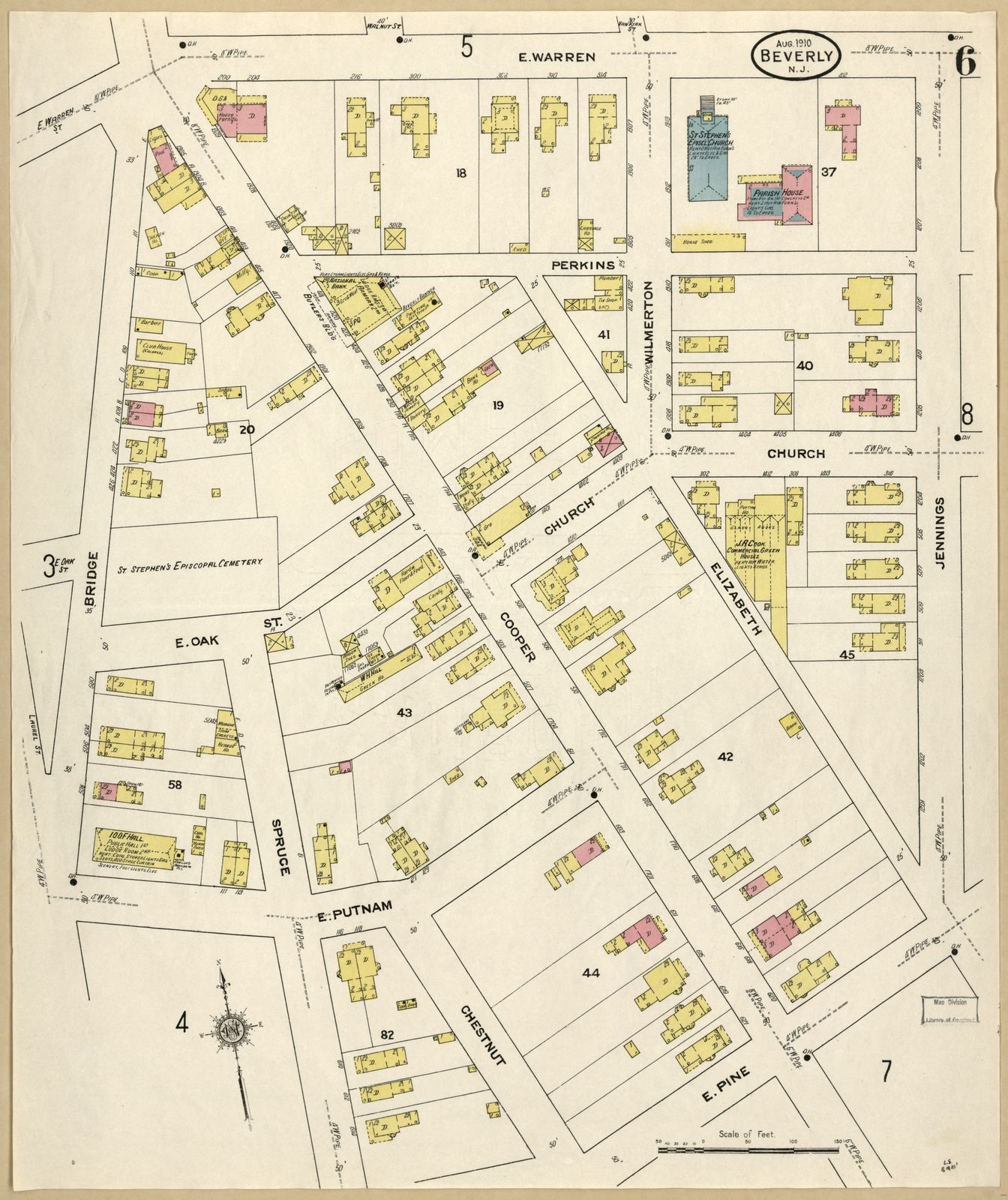 Sanborn Fire Insurance Map From Beverly Burlington County New