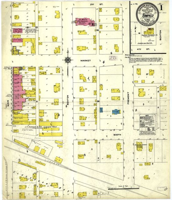 Sanborn Fire Insurance Map from Tampico, Whiteside County, Illinois.