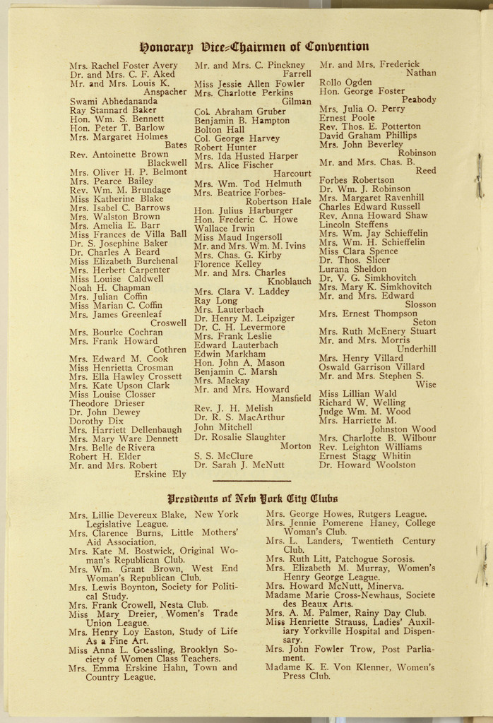 Second Annual Convention of the Women's Suffrage Party