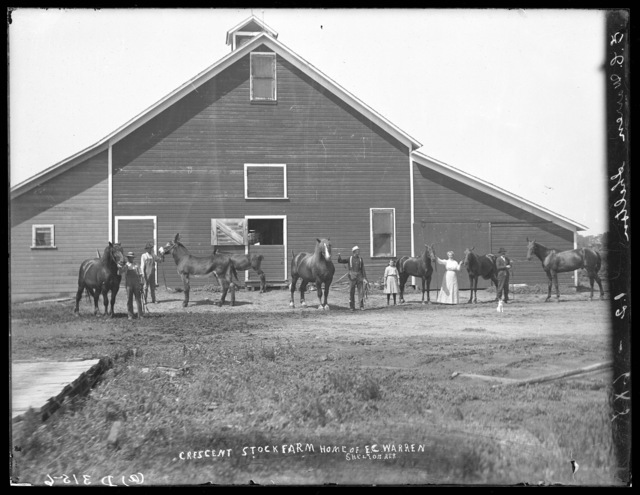 Several horses and people in front of the  barn on the  E.C. Warren farm south of Shelton, Nebraska.