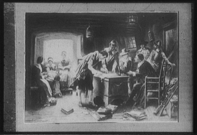 [Signing of the compact in the cabin of the Mayflower]