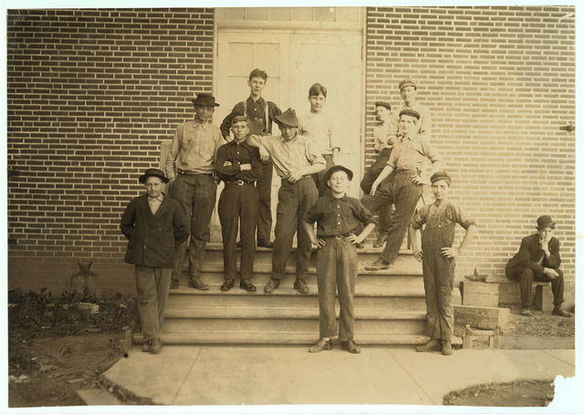 Some of the Young Boys Working in the Robert Johnson Rand Shoe Factory, Washington, Mo. (Branch of St. Louis firm making Star shoes). On left end is Henry Detmer, who said he has been working there three years. Fred Schraneuer, right hand end, has been working there since June. I did not get photos of all the youngsters. (See also 1711 to 1714.)  Location: Washington, Missouri.