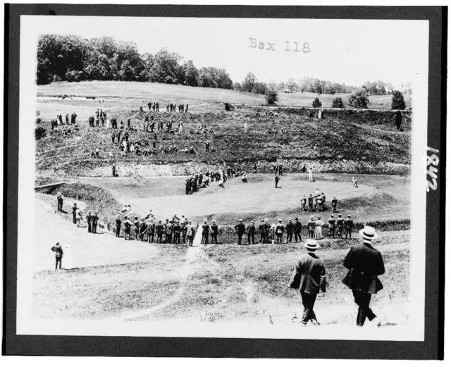 [Spectators watching golf at Columbia Country Club(?), in Washington, D.C. area]