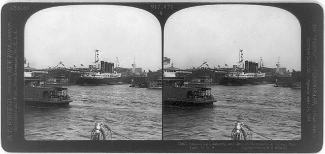 Steamship Lusitania and distant Metropolitan Tower, New York, U.S.A.