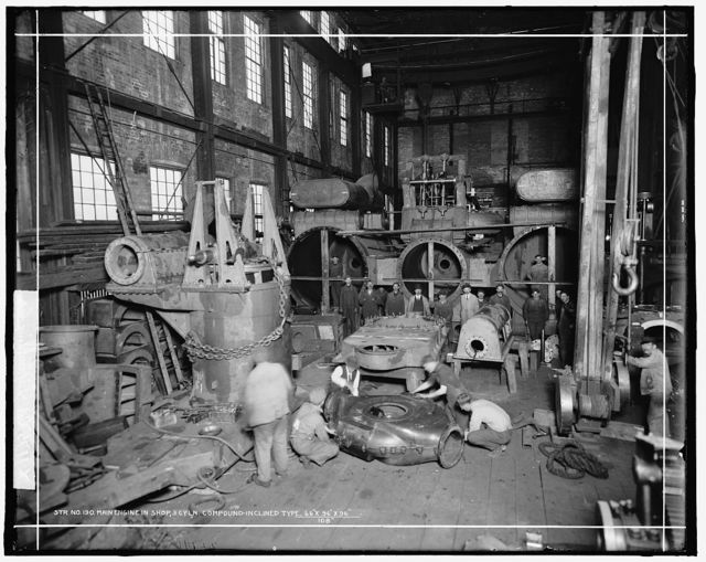 Str. no. 190, main engine in shop, 3 cyln. compound-inclined type, [probably in Wyandotte, Mich.]