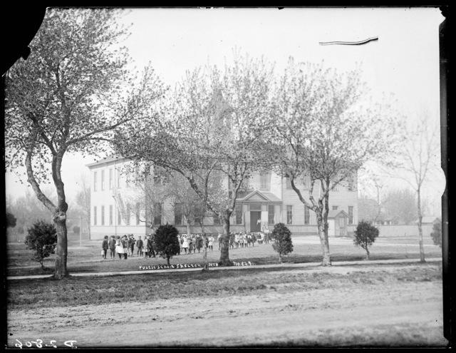 Students leaving Public School, Shelton, Nebraska.