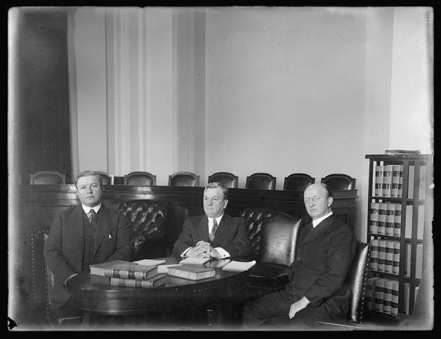Sub. Com. of House Judiciary Committee investigate Snowden H. Marshall. L to R: Warren Gard, Ohio, C.C. [Charles Creighton] Carlin, Va., Jno. M. [John Mandt] Nelson, Wis.