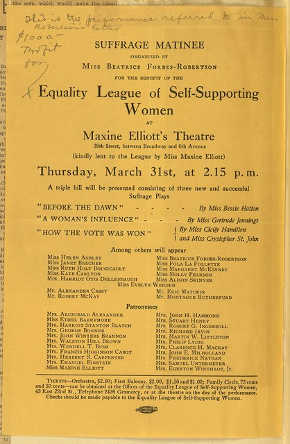Suffrage Matinee organized by Beatrice Forbes-Robertson for benefit of Equality League of Self-Supporting Women at Maxine Elliott's Theatre