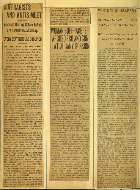 Suffragists and Antis Meet at Woman Suffrage Hearings in Albany