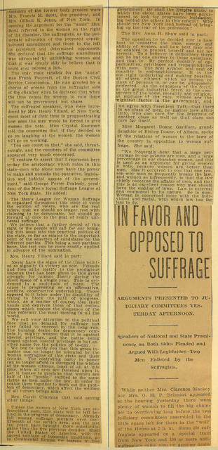Suffragists and Antis Meet at Woman Suffrage Hearings in Albany; page 2