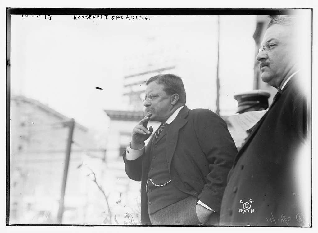 T. Roosevelt preparing to speak, outside, New York (Yonkers)