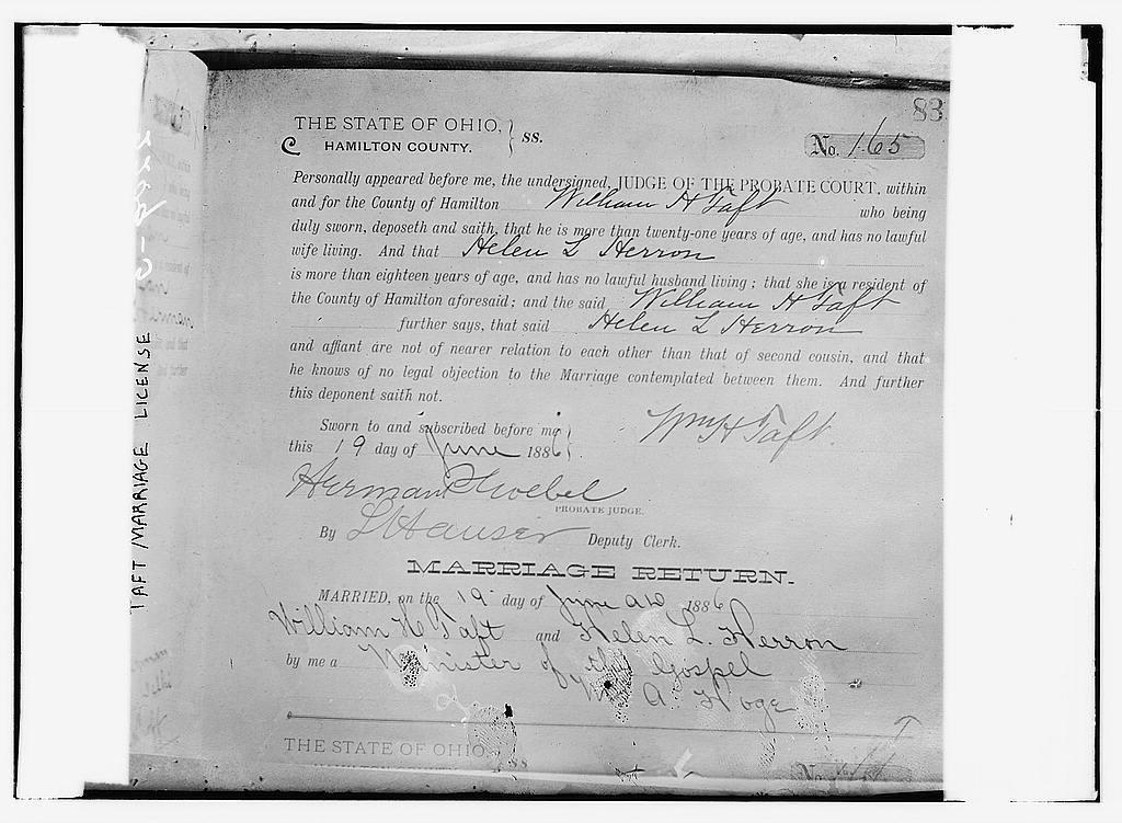 Taft Marriage License, Ohio