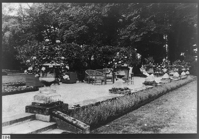 Terrace near the house, Pavalion Colombe, St. Brice, chateaux near Paris, France