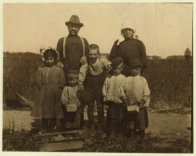 The Arnao family of berry pickers in the fields of Truitt's farm. This is an Italian family coming from Phildelphia and now ready to go to Carmel, N.J. to continue picking. The family consists of: 1 child 3 years of age, 1 child 6 years of age, 2 children 7 years of age, 1 child 9 years of age, 1 child 10 years of age, 1 child 11 years of age. All of whom pick.  Location: Cannon, Delaware.