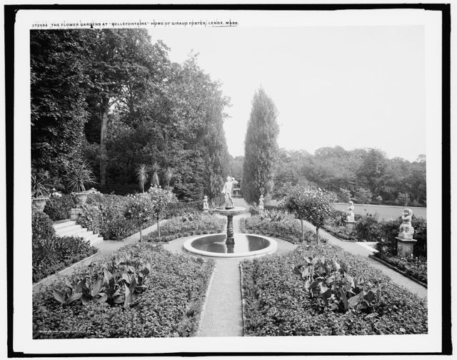 The Flower gardens at Bellefontaine, country home of Giraud Foster, Lenox, Mass.