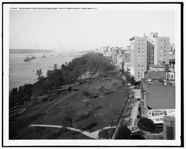 The Hudson River and Riverside Park, north from 93rd St., New York, N.Y.