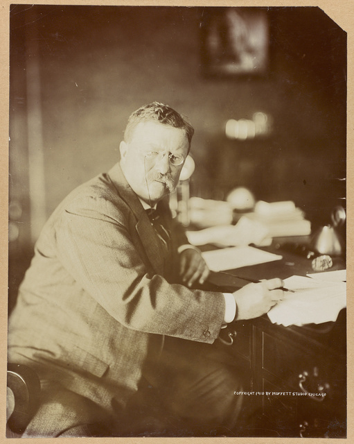 [Theodore Roosevelt, three-quarter length portrait, seated at his desk with papers and holding a pen, facing front]