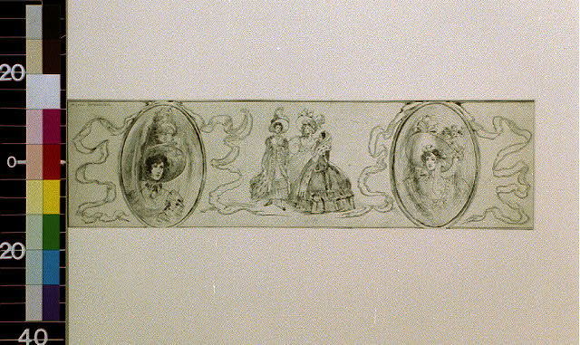 [Three ladies in early 1800's attire, flanked by ribboned miniatures of two ladies]