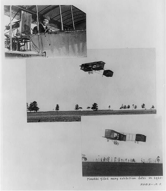 [Three scenes of Harry Houdini as aviator; close-up in Voisin biplane cockpit (1910?); ascending in biplane; flying low]