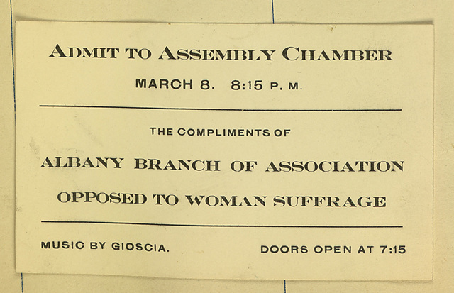 Ticket to Albany Branch of Association Opposed to Woman Suffrage Meeting