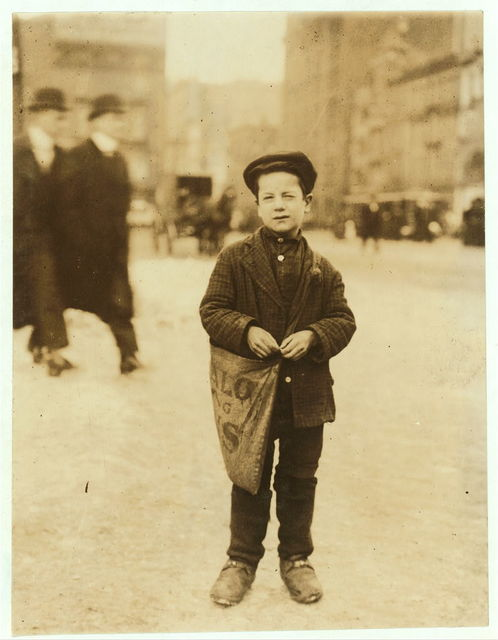 Tony Tomarila [or Tomasula?], 11 Fly St., 8 years old. This newsie had just gotten his afternoon papers, after school, and was starting out on his rounds. I found him later in a saloon, at 10 P.M. Has no badge.  Location: Buffalo, New York (State)