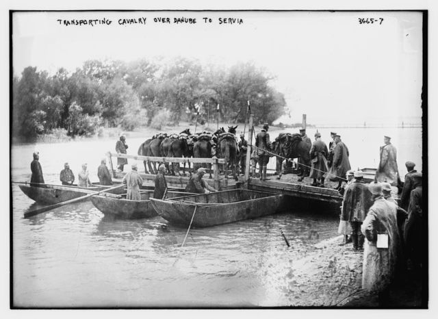Transporting cavalry over Danube to Servia