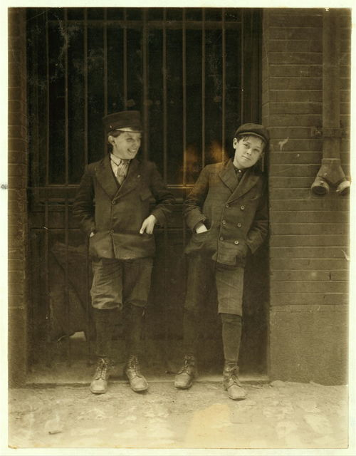 Two boys working in Inland Type Foundry 12th & Locust Sts. Work 9 to 10 hours a day. Noon.  Location: St. Louis, Missouri.