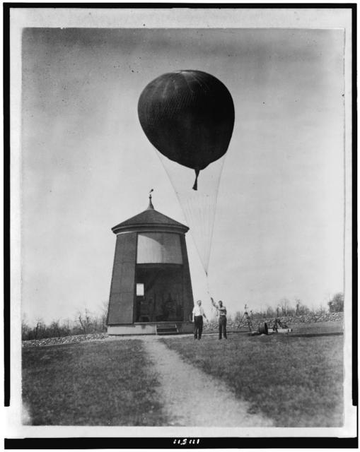 [Two men performing balloon test for the Weather Bureau, Washington, D.C.]